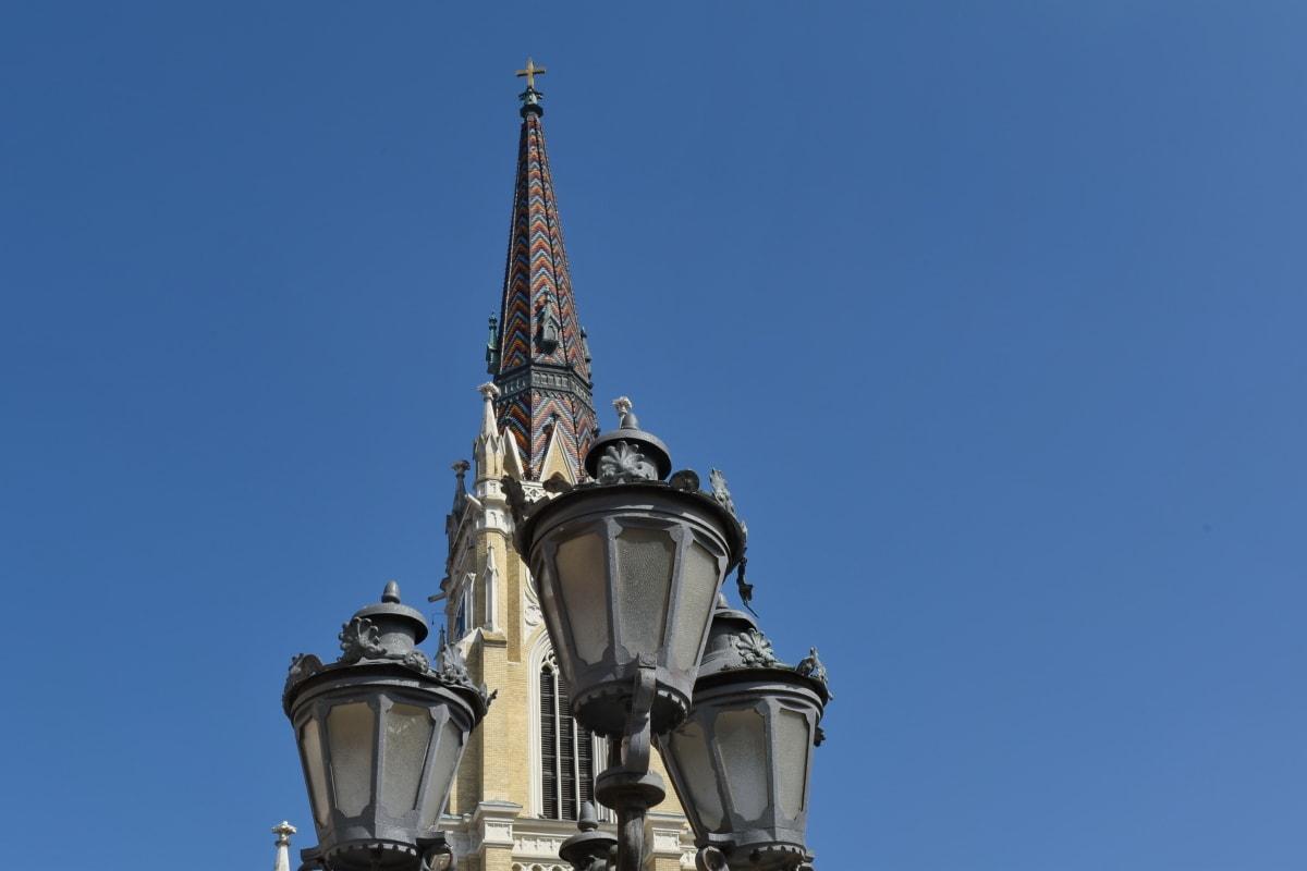 kirketårnet, været, lampe, gate, arkitektur, tårnet, utendørs, gamle