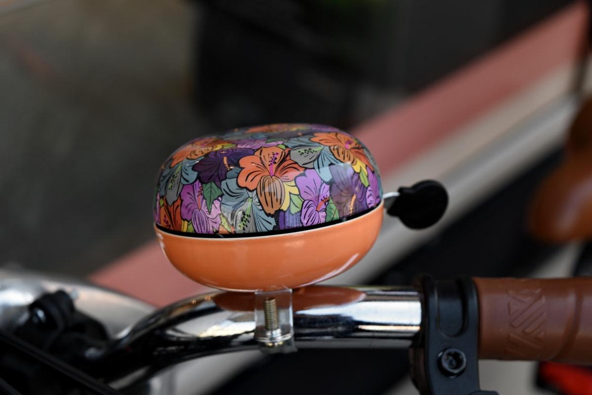 zvono, bicikala, krom, šarene, starinski, nehrđajući čelik, upravljač, mrtva priroda
