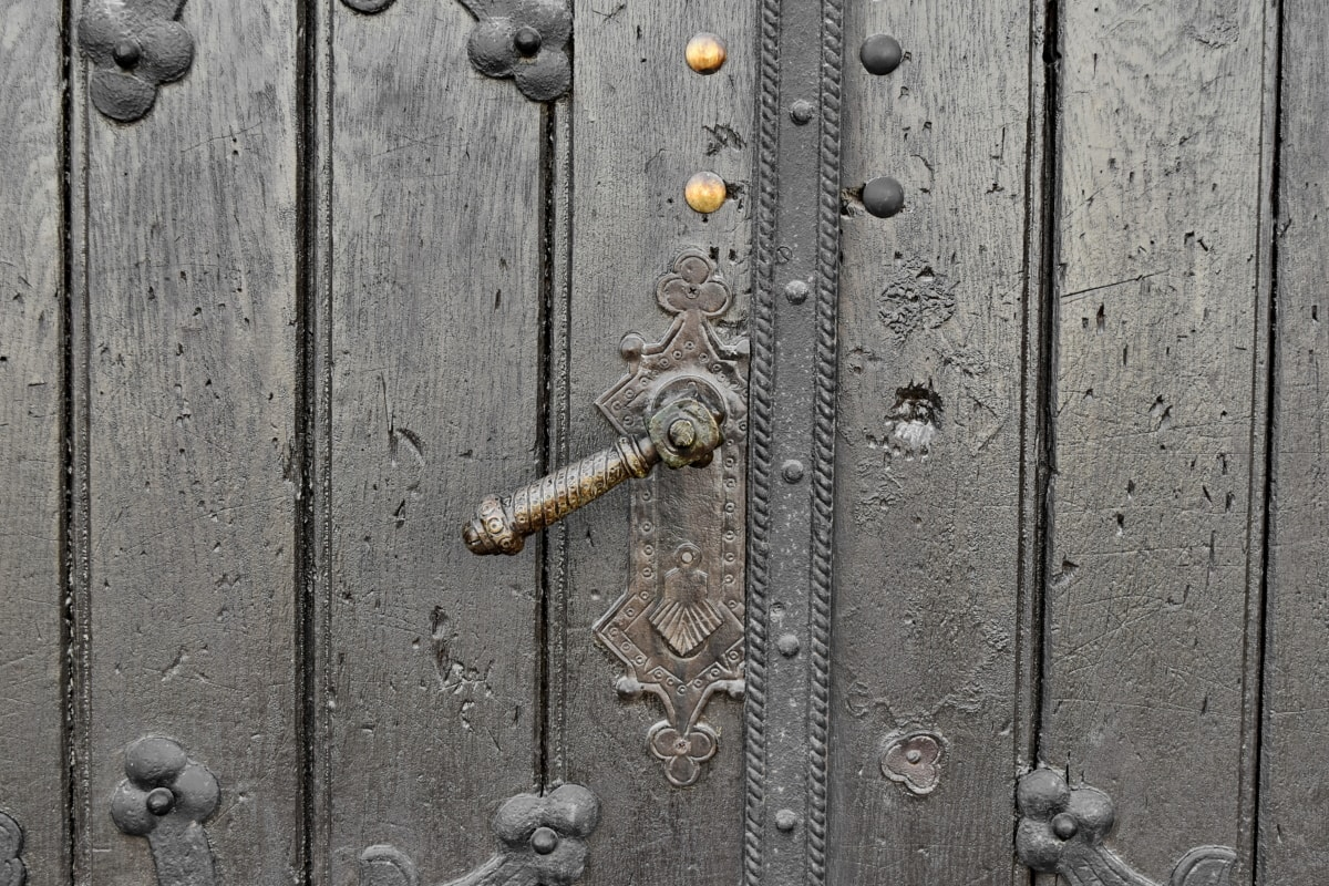 gate, old, fastener, iron, handle, entrance, steel, door