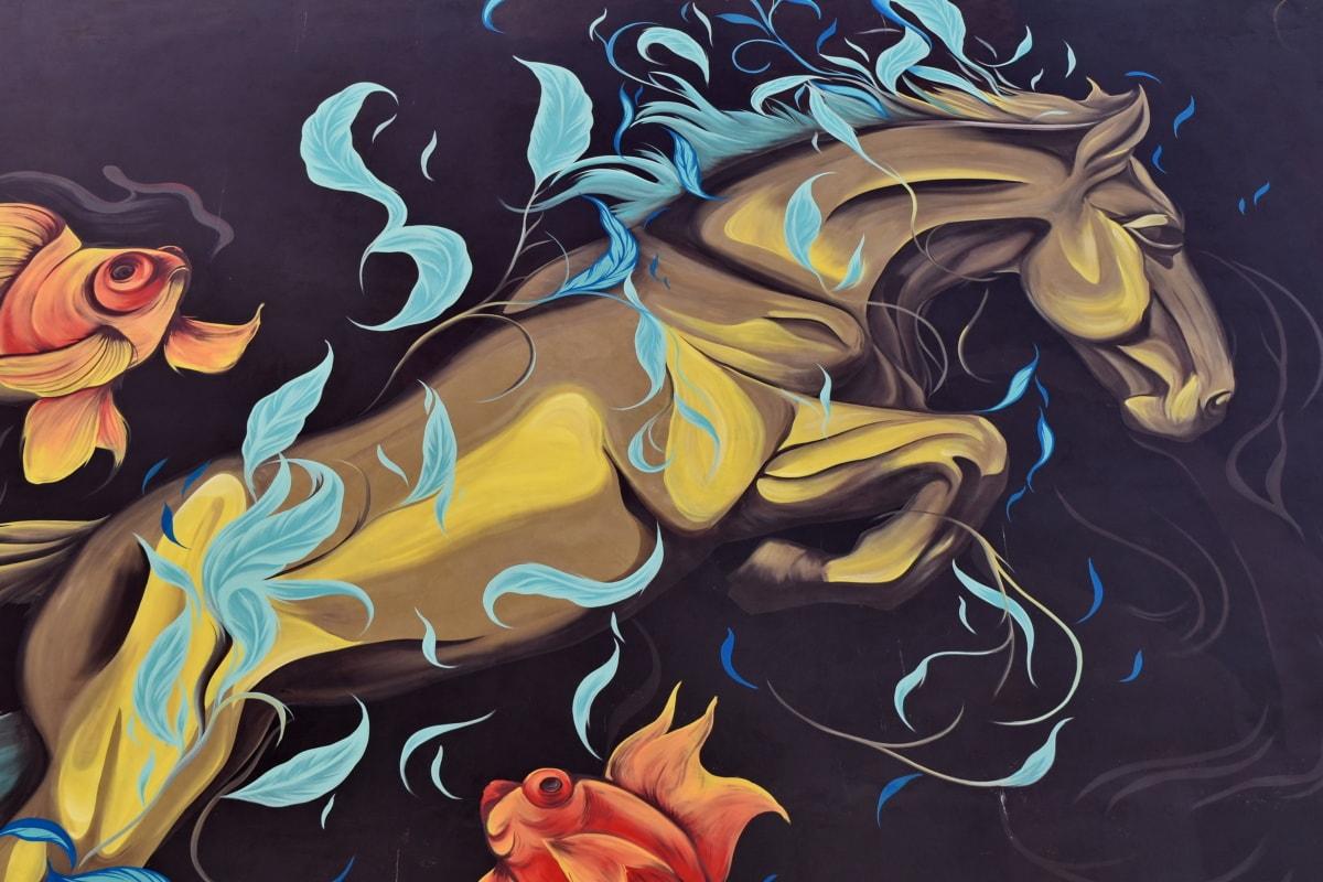 art, graffiti, horse, jump, design, illustration, abstract, pattern
