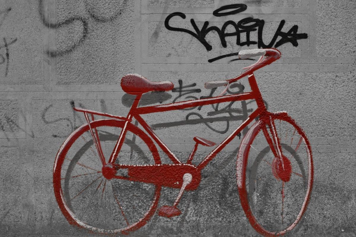 grafiti, Crveni, tekst, kolo, bicikala, ciklus, biciklizam, bicikl