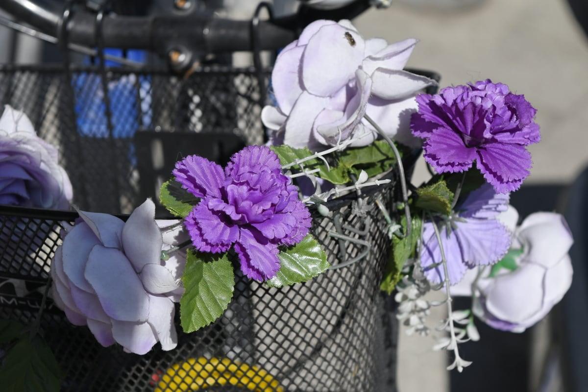 bicikala, upravljač, cvijet, dekoracija, cvijeće, roza, priroda, lijepa