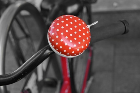 bicycle, red, steering wheel, wheel, bike, street, road, outdoors