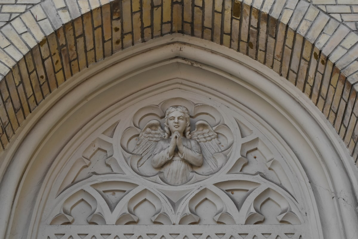 angel, arabesque, arch, decoration, gothic, cathedral, church, architecture