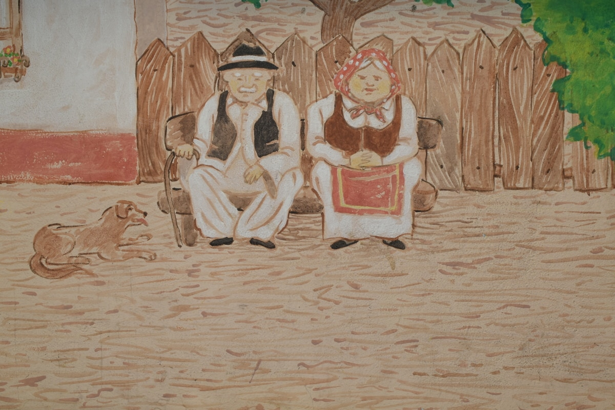 graffiti, væg, kunst, folk, maleri, mand, illustration, gamle