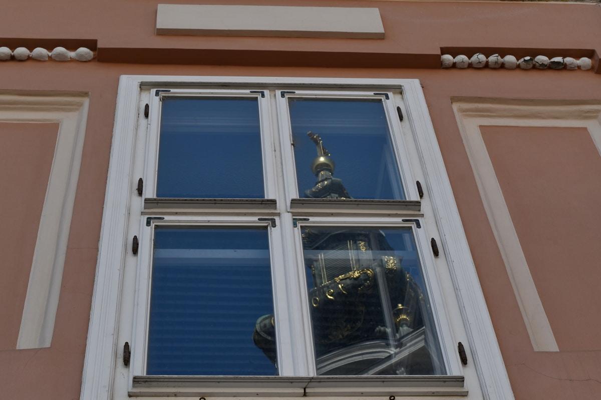 refleksion, arkitektur, hus, ramme, vindue, hjem, bygning, træ