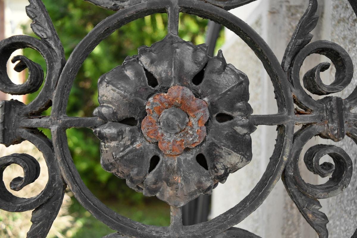 umění, litina, květ, rez, ocel, železo, staré, kolečko