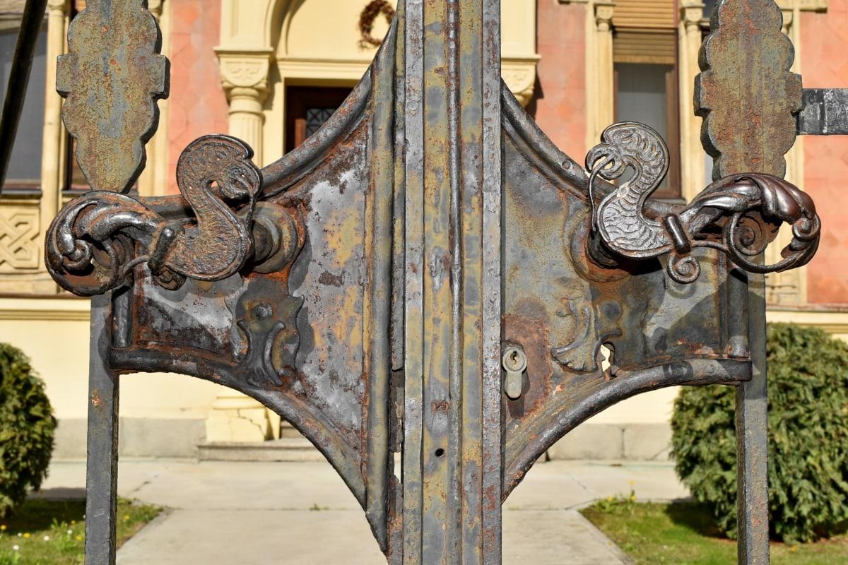 cast iron, front door, old, gate, door, architecture, entrance, antique