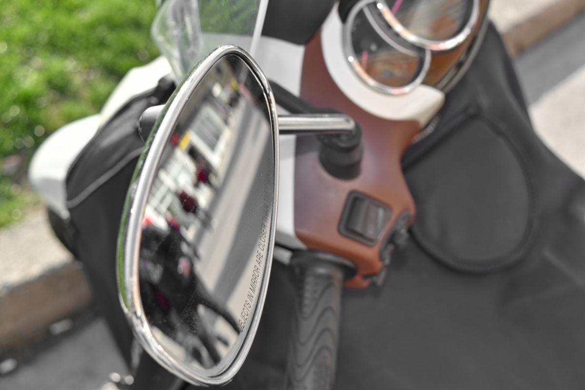 mirror, motorbike, reflection, transportation, vehicle, mechanism, steering wheel, wheel