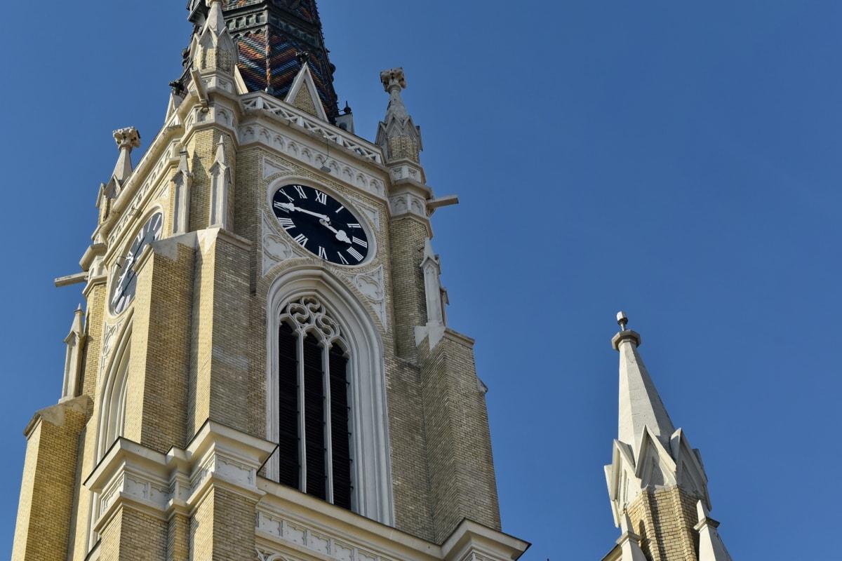 church tower, facade, gothic, landmark, worship, architecture, building, tower
