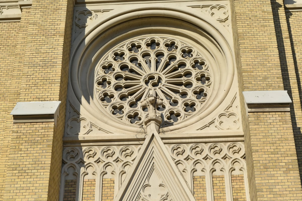arabesque, circle, ornament, window, building, cathedral, framework, church