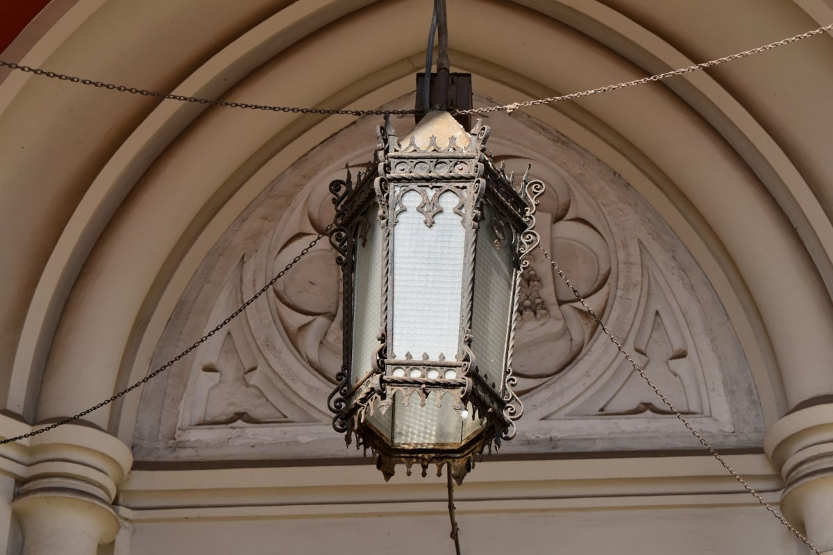 arch, cast iron, lamp, cathedral, religion, church, building, architecture