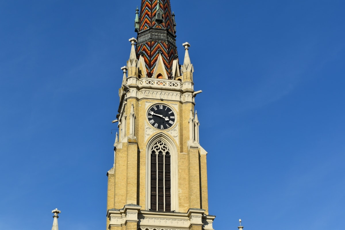 Църквата кула, Готически, забележителност, Сърбия, туристическа атракция, часовник, покриващи, архитектура