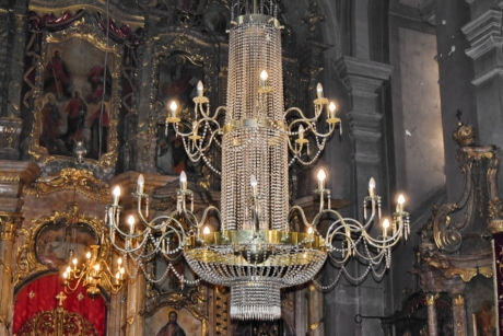 culture, heritage, orthodox, Serbia, chandelier, architecture, religion, temple