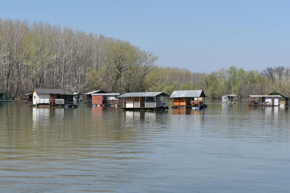 víz, tó, csónakház, ház, elmélkedés, fa, árvíz, folyó