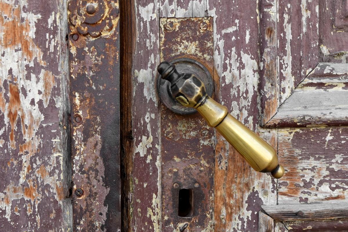 真鍮, 正面玄関, 手作り, チーク材, 穴, デバイス, ファスナー, ロック