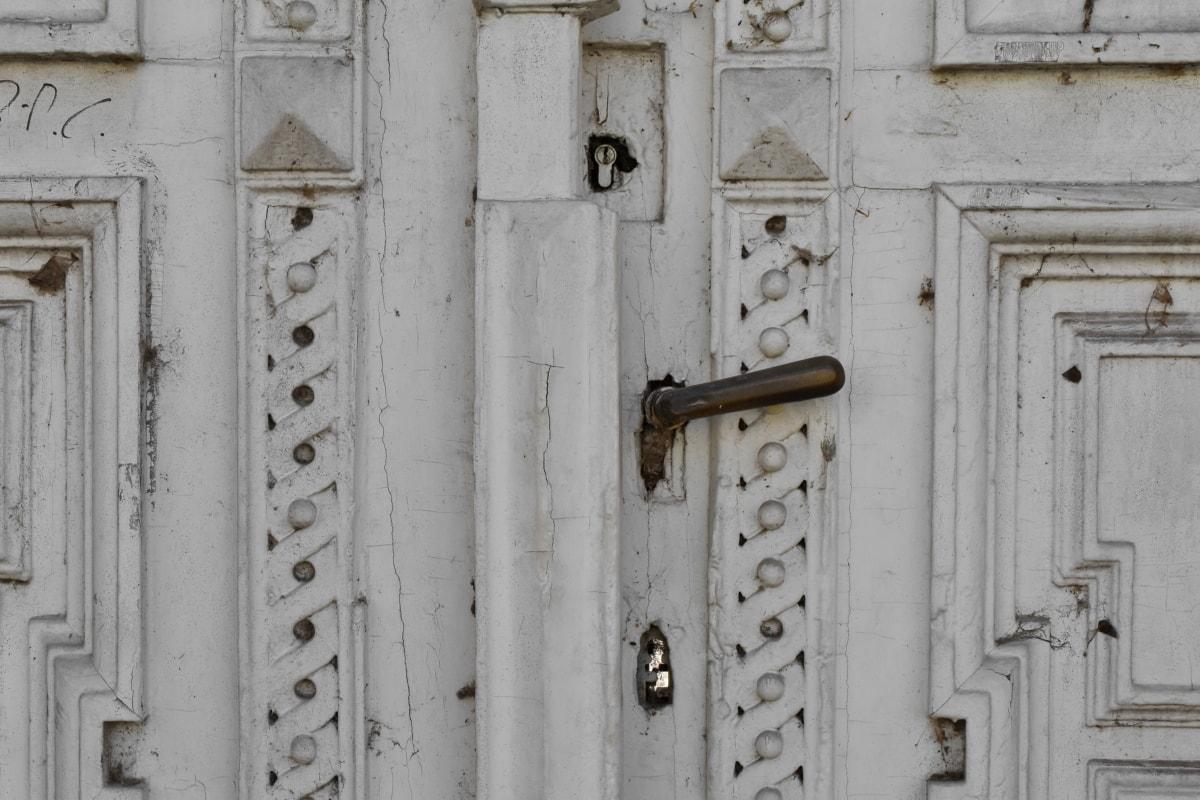 řezbářské práce, ornament, dveře, dřevěný, uzávěr, staré, dřevo, architektura