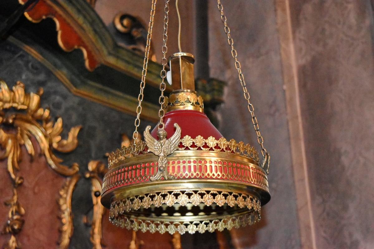 lysekrone, ornament, gull, dekorasjon, krone, gamle, tradisjonelle, luksus