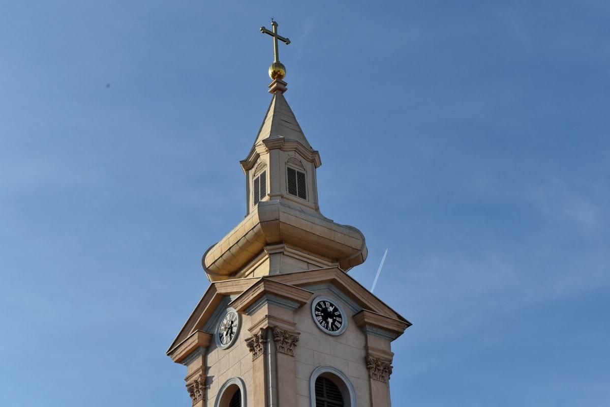 Църквата кула, култура, екстериор, кула, църква, кръст, сграда, покриващи