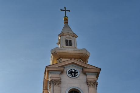 chapel, cross, gold, church, religion, tower, architecture, building