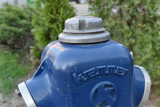 alloy, blue, cast iron, hydrant, nature, outdoors, old, grass