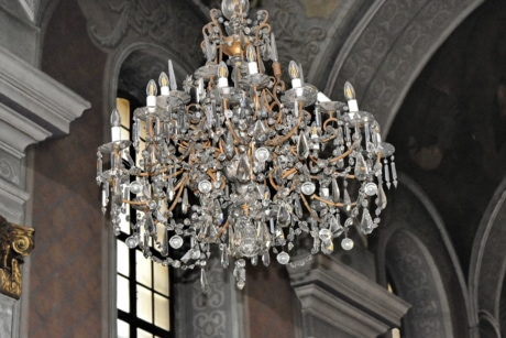 church, chandelier, architecture, cathedral, religion, building, old, art