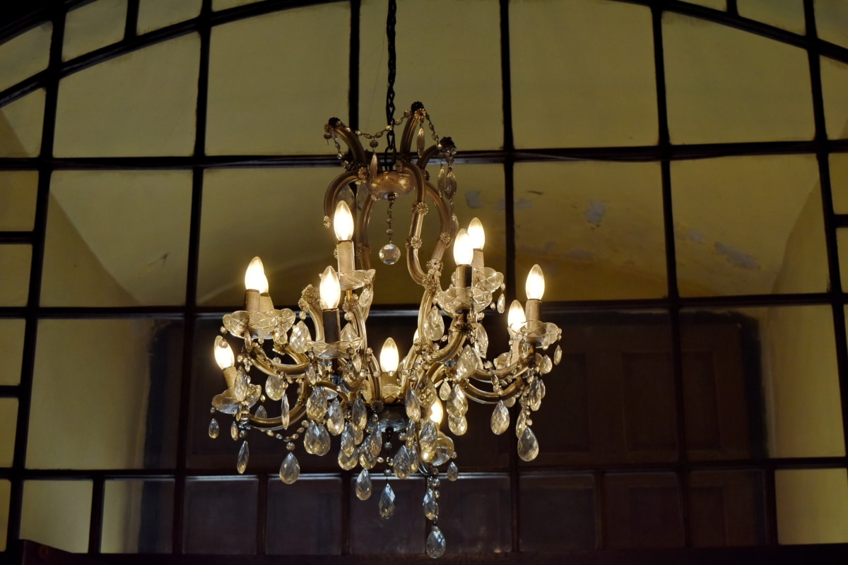 kristalli, käsintehty, lamppu, kattokruunu, sisustus, lamppu, kynttilä, ylellisyys