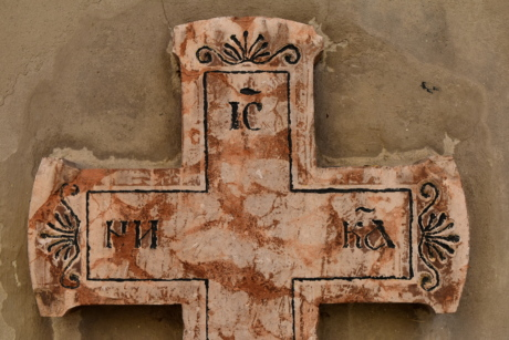 Byzantine, cross, gravestone, marble, old, wall, architecture, retro