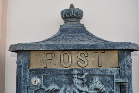 alloy, brass, handmade, mailbox, architecture, old, antique, vintage