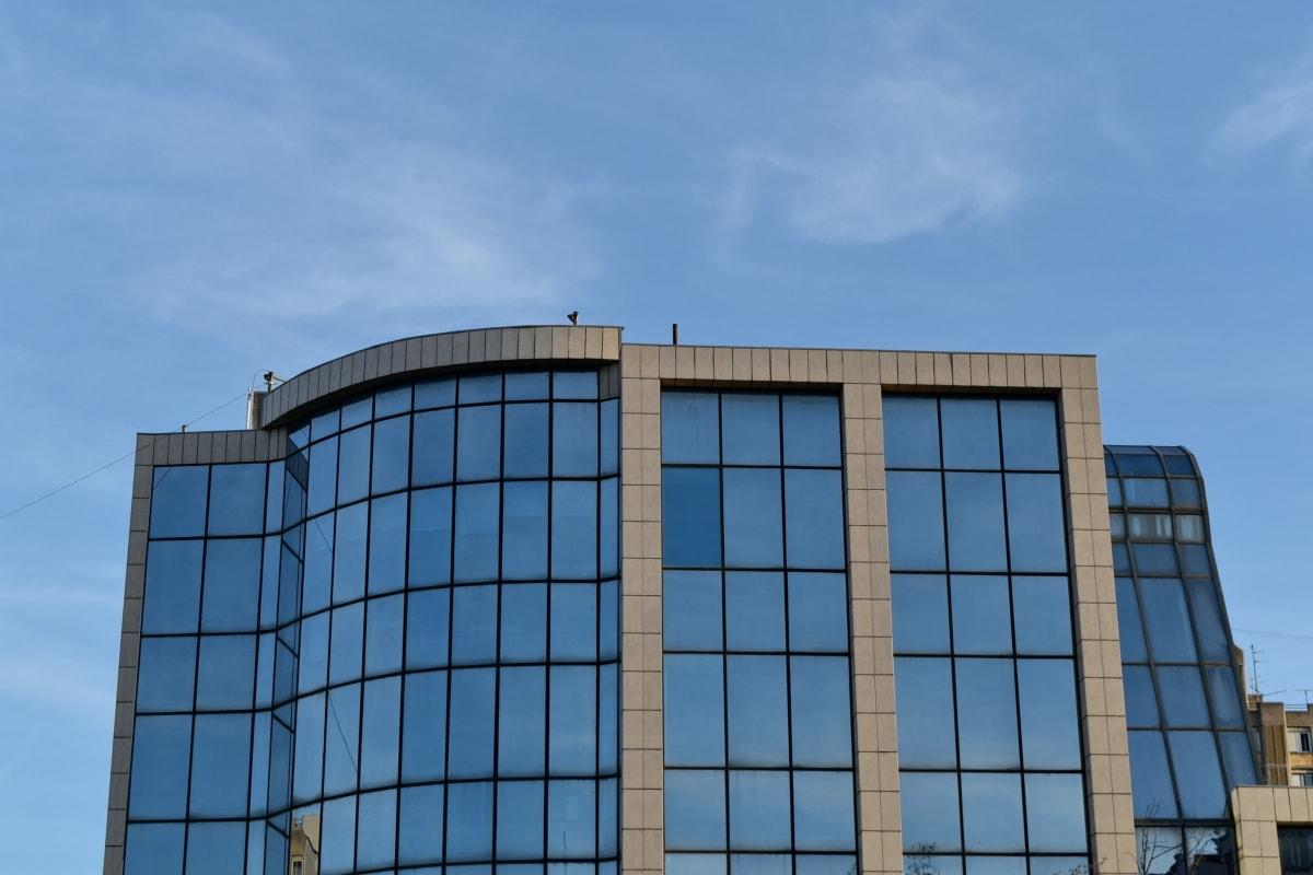 Mavi gökyüzü, fütüristik, cam, mimari, gökdelen, Kentsel, Şehir, ofis
