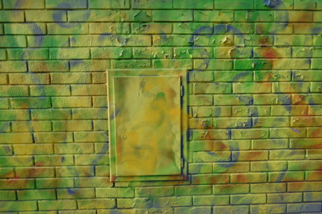 graffiti, greenish yellow, old, wall, texture, brick, tile, dirty