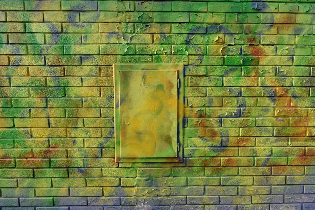 graffiti, textura, perete, decor, vechi, caramida, cub, tapet