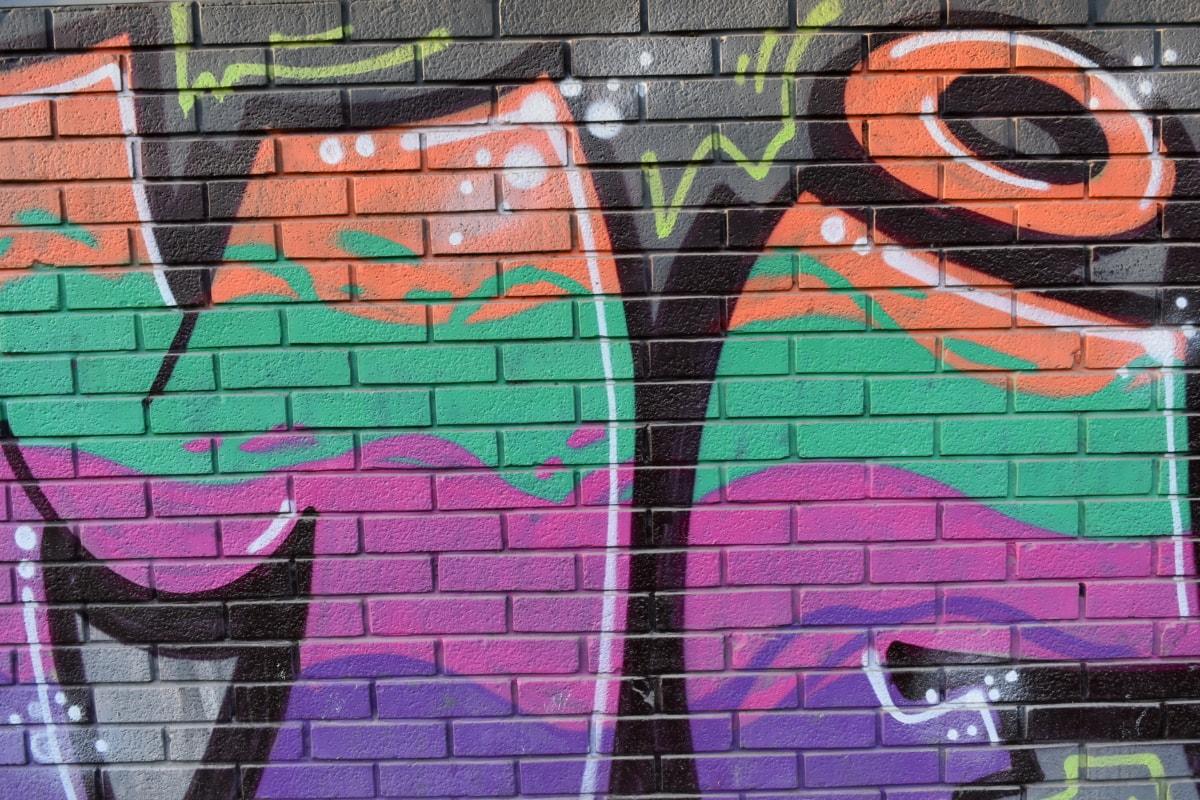 γκράφιτι, κεραμίδι, τοίχου, μοτίβο, τούβλο, βανδαλισμός, αστική, Σχεδιασμός