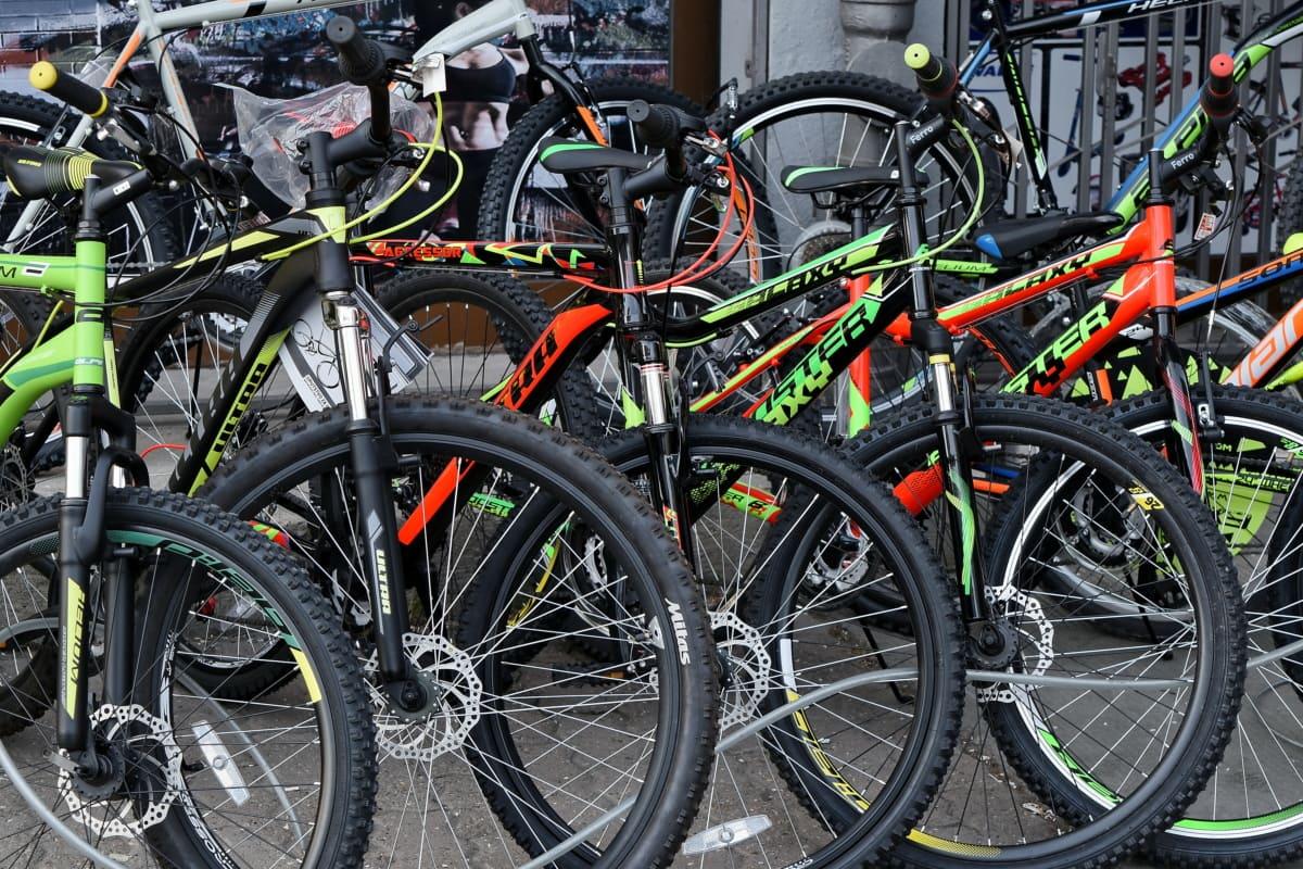 marché, magasin, vélo de montagne, vélo, roue, cycle, siège, vélo