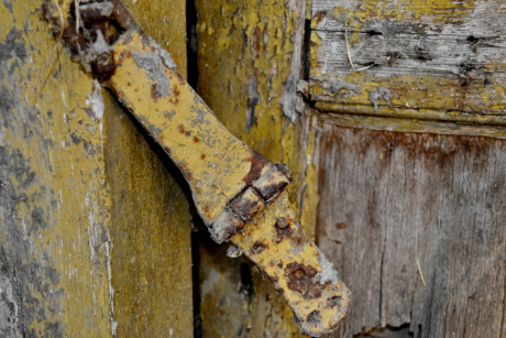 carpentry, front door, latch, old, fastener, wood, dirty, rough