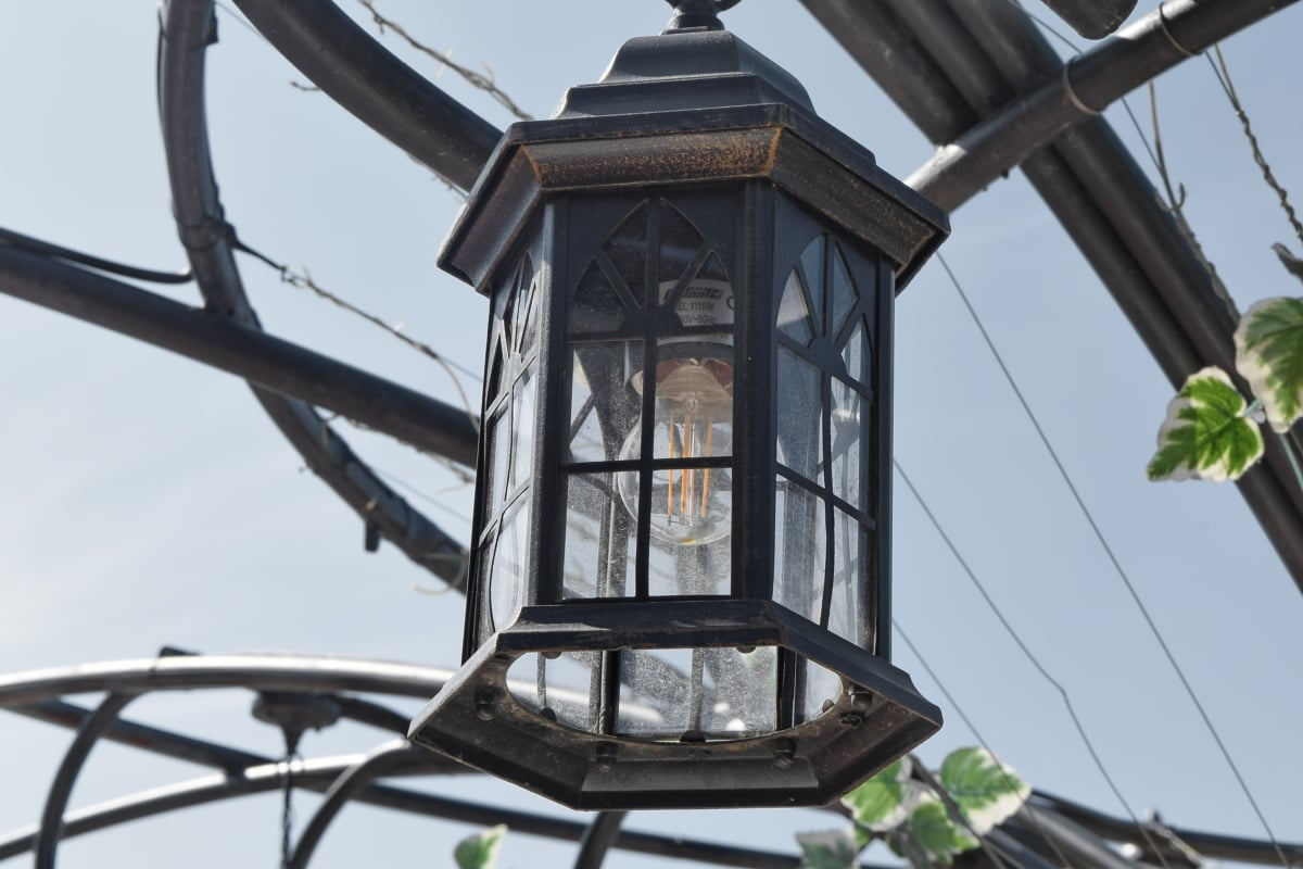 Liga, céu azul, ferro fundido, lanterna, lâmpada de iluminação, edifício, arquitetura, ao ar livre