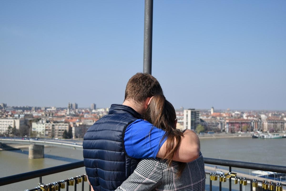 pojkvän, kramas, Kärlek, panorama, Snygg tjej, staden, turist, vatten