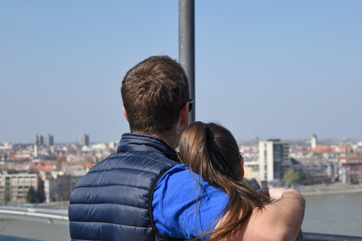 dečko, djevojka, Sreća, način života, ljubav, panorama, romansa, grad