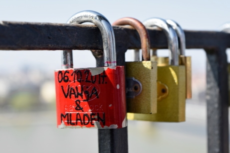 fence, love, romantic, padlock, safety, metal, device, fastener