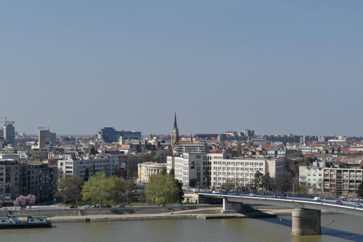 panoráma, město, nábřeží, voda, řeka, architektura, Panorama, panoráma města
