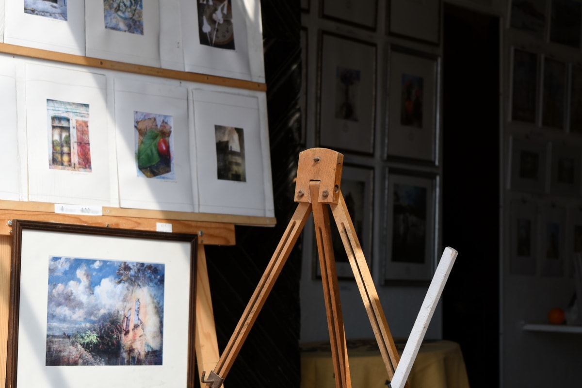 Галерия, живопис, статив, музей, изкуство, изложба, стая, сграда