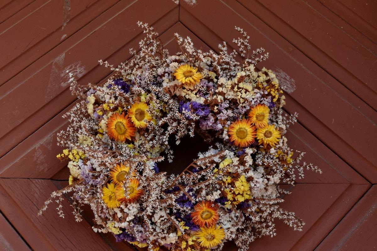 όμορφα λουλούδια, Ξυλουργικές εργασίες, ξηρά, μπροστινή πόρτα, Δρυς, Νεκρή φύση, λουλούδι, διακόσμηση