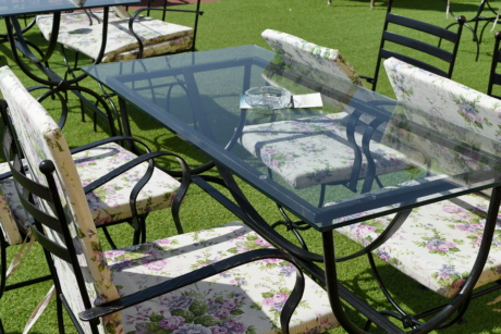 cast iron, chairs, furniture, garden, structure, patio, area, bench