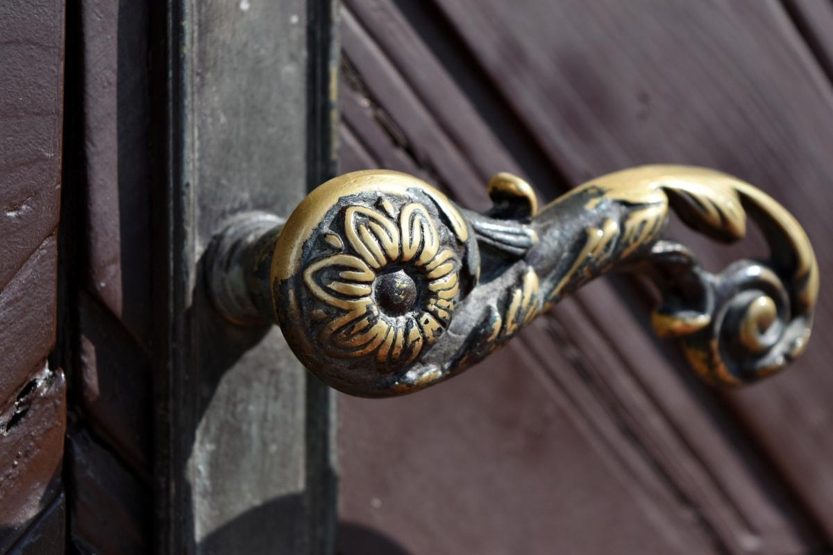 mesing, ulazna vrata, ukras, zaključavanje, vrata, stari, ulaz, starinsko
