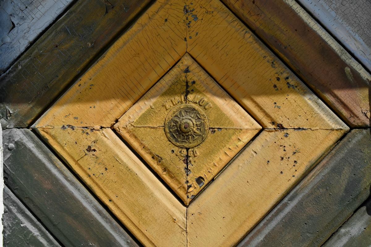 Stolarstwo, ręcznie robione, drewno tekowe, drewno, stary, drzwi, drewniane, ściana