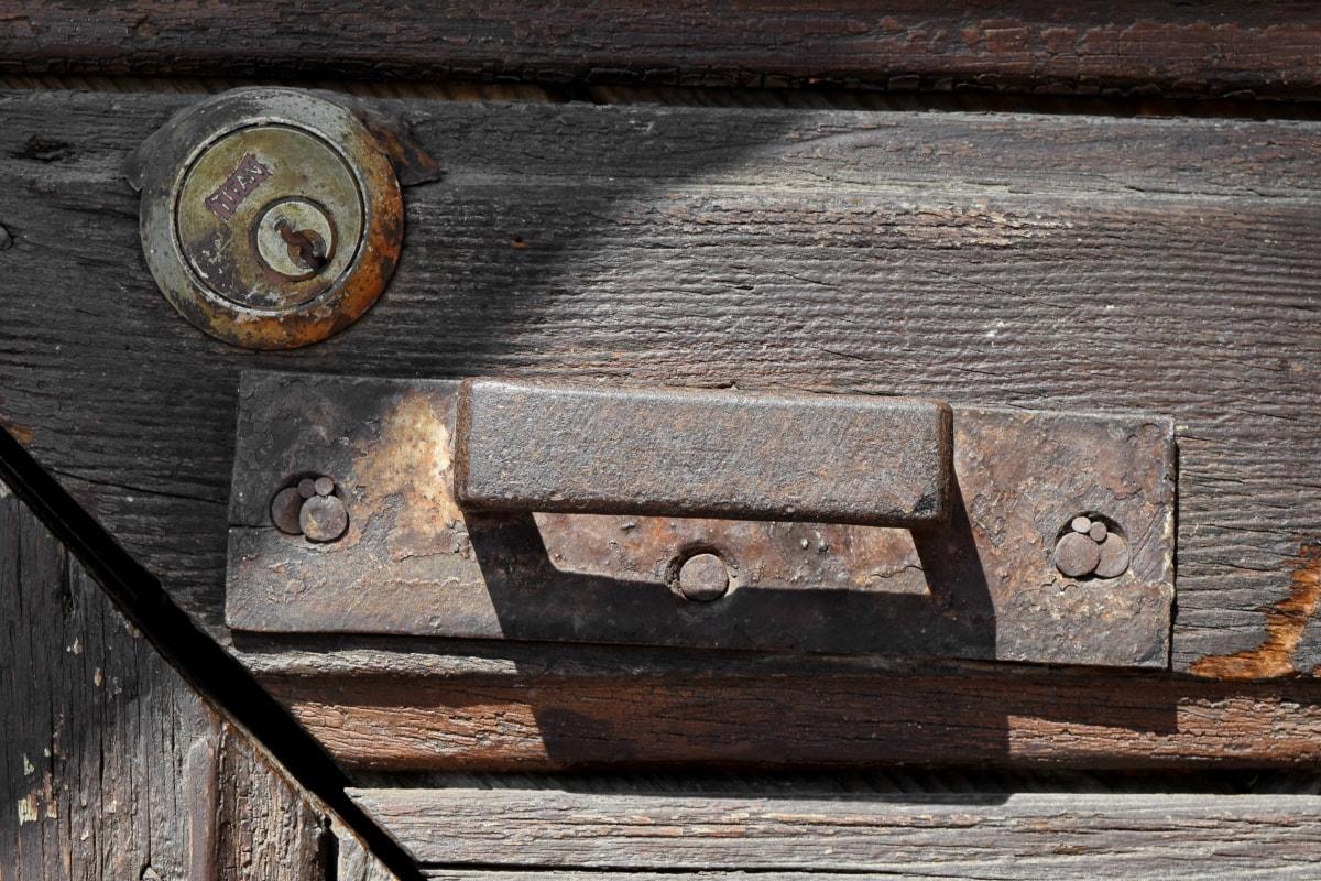 tesařství, detaily, klíčovou dírkou, staré, kov, dveře, dřevo, rez
