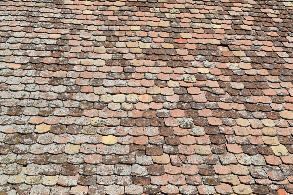taket, eksteriør, murstein, fliser, gamle, tekstur, vegg, mønster