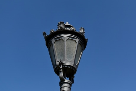 lamp, lantern, bulb, electricity, classic, outdoors, blue sky, architecture