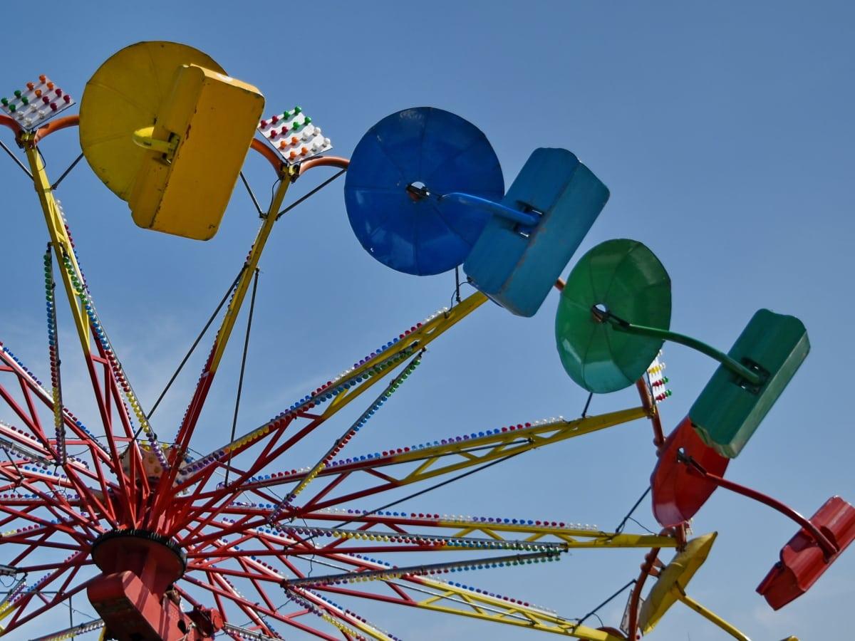 zabavni, cirkus, kolo, karneval, mehanizam, vožnja, park, zabava