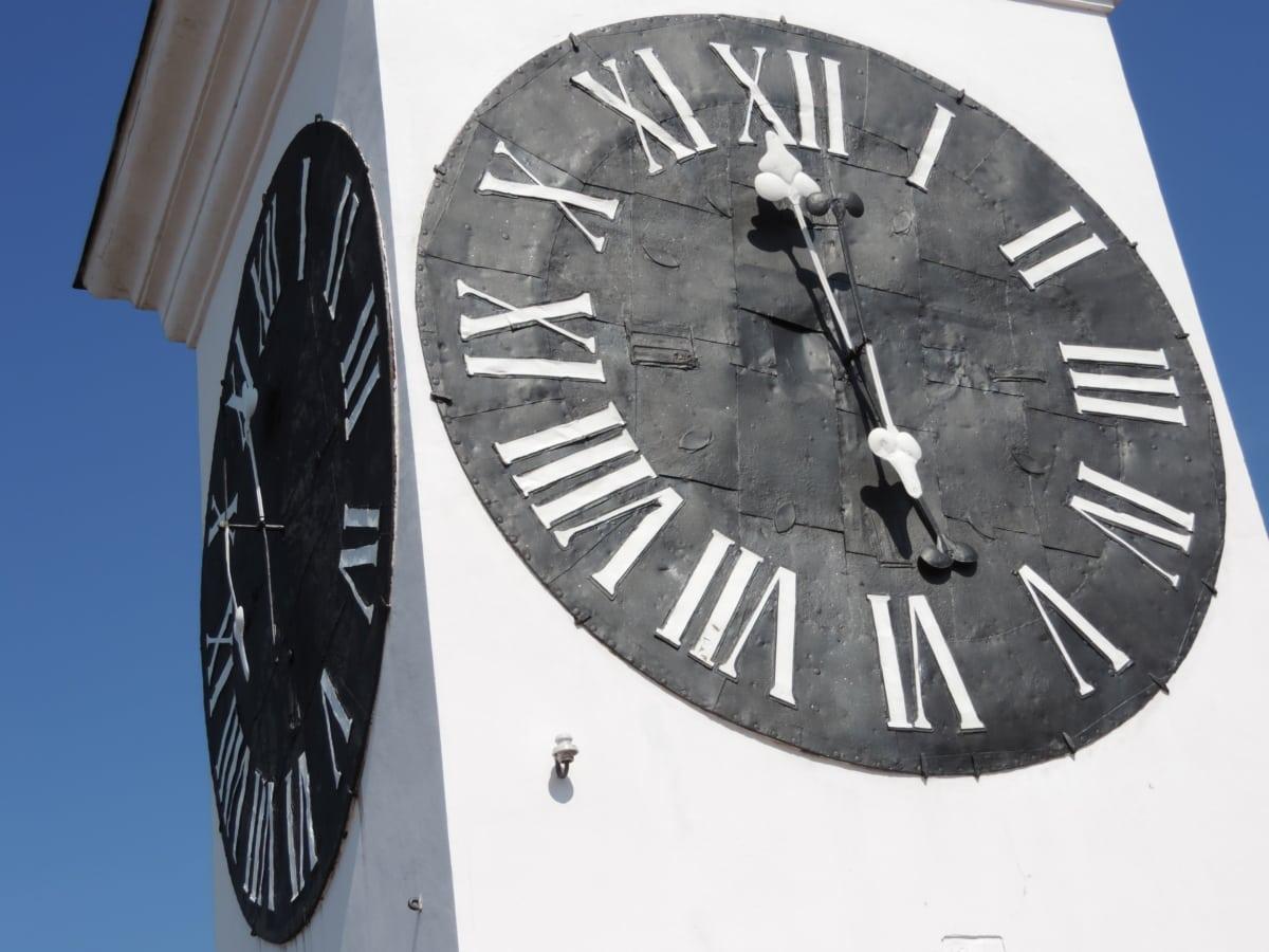 clock, pointer, timepiece, time, analog clock, minute, outdoors, retro